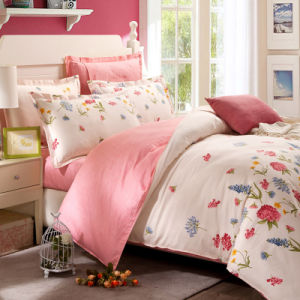 Textile 100% Cotton High Quality Bedding Set for Home/Hotel (Pink&Flower) pictures & photos
