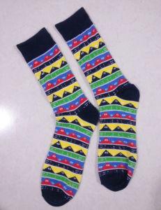 Cotton Men′s Happy Crew Socks with Happy Design pictures & photos
