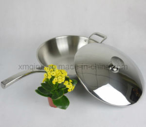 32 Cm Stainless Steel with Lid and Helper Handle Saute Pan pictures & photos