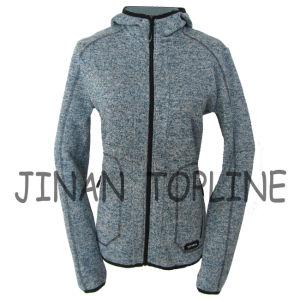 Women Long Zipper Cationic Hoody Fleece Jacket pictures & photos