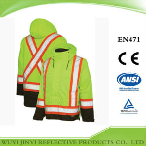 Insulated Two-Tone Safety Jacket with Back X Pattern