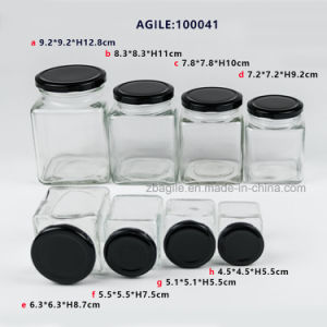 Glassware Glass Storage Bottle Jar with Black Metal Lid pictures & photos