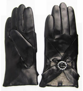 Lady Warm Leather Gloves (JYG-23007) pictures & photos