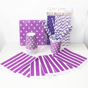 Purple Color Paper Napkin Straw Bag with Different Designs for Party pictures & photos