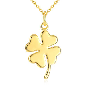 Fashion K Gold Clover Gold Pendant Necklace Zinc Alloy Material Pendant pictures & photos