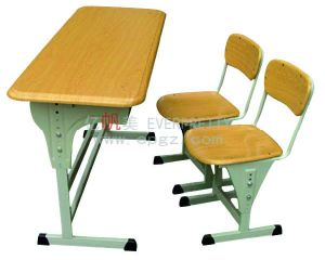 School Wooden Green Color Student Double Desk with Bench pictures & photos