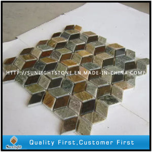 Natural Mixed Color Wall Slate Stone Mosaic pictures & photos
