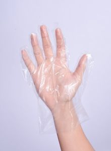 Disposable Blue HDPE Glove with Header Card Packing pictures & photos