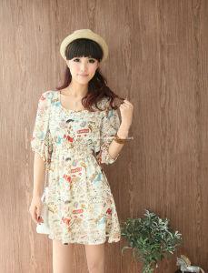 2013 New Stylish Short Sleeve Print Dress (XYD-287)