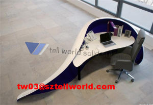 Round Curved Reception Desk with White Counter Top, Marble Office Desk, Marble Reception Desk pictures & photos