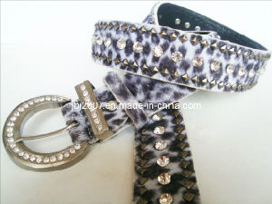 Beaded Leather Rhinestone Fancy Belt
