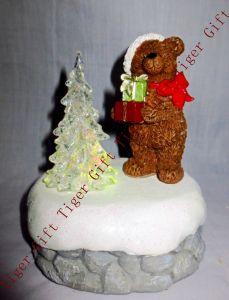 Polyresin Bear Putting Gift W/LED Light