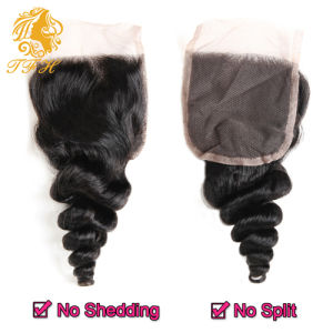 7A Brazilian Virgin Hair with Closure Hair Bundles with Lace Closure 3PCS Loose Wave with Brazilian Lace Closure Cheap Human Hair pictures & photos