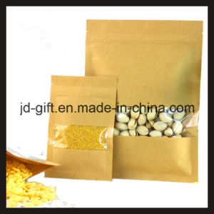 Kraft Paperthree Side Sealed Ziplock Pouches with Window for Tea/Salt/Food pictures & photos