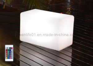 Outdoor Furniture, Plastic Bar Stool, RGB LED Cube Chair, LED Cube Seat  Lighting
