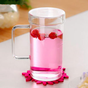 Hand Made Glass Cup Juice Cup 650ml Tea Cup with Cover pictures & photos