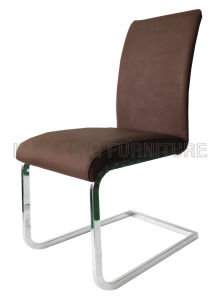 Modern Cheap Chrome Steel Foot PU Leather Dining Chair (NK-DC066)