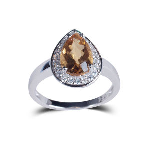 Classic Orange Heart-Shaped Wedding Jewelry Natural Stone Jewelry 925 Silver Ring