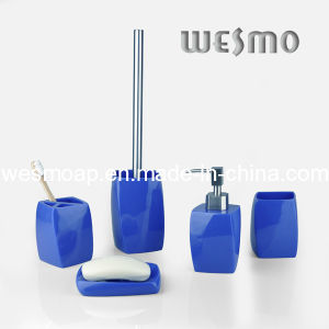 Household Product Blue Polyresin Bath Set (WBP0292B) pictures & photos