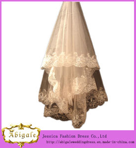 Tulle Appliques Champagne Colored Wedding Veils (MI 3560) pictures & photos