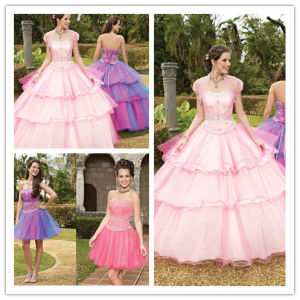 2013 Custom Made Floor Length Tiered Lace up Back Quinceanera Dresses with Detachable Skirt (SR27) pictures & photos