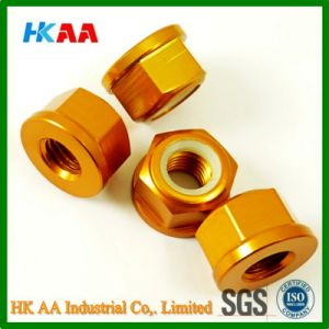 CNC Turning Machining Aluminum Anodized Locking Nuts pictures & photos