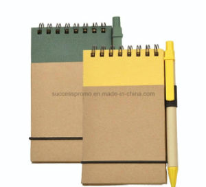A6 Eco-Frindly Kraft Paper Spiral Notebook with Pen pictures & photos