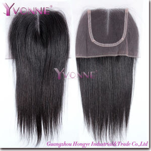 Natural Straight Brazilian Hair Middle Parting Lace Top Closure pictures & photos