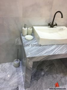 White Marble with Vein Sink Vessel Washbasin for Bathroom Decoration pictures & photos