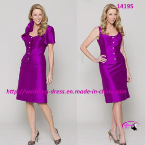 Noble Elaborate Mother of Bride Dress with Short Sleeve pictures & photos
