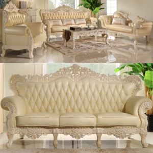 Leather Sofa with Wood Sofa Frame for Living Room Furniture (512D) pictures & photos