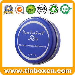 Round Small Solid Perfume Tin Box for Cosmetics pictures & photos