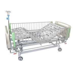 Bam220 Aluminium Alloy Side Rails Double Crank Hospital Bed with IV Stand pictures & photos