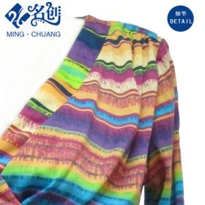 Multicolour Horizontal-Strips Long-Sleeve Decussate V-Neck Sexy Fashion Ladies Dress pictures & photos