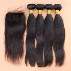 8A Grade Silk Base Closure with Bundles 4X4 Silk Base Closure with Bundles Straight Brazilian Virgin Hair with Closure pictures & photos