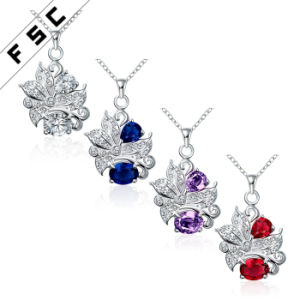 Women′s Fashion Jewelry Silver Plated Cubic Zirconia Pendant Necklace pictures & photos