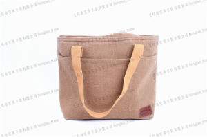 Cotton with PU Emboss Logo Heat Preservation Coolerbag pictures & photos