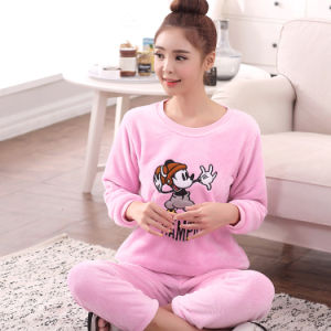 Autumn and Winter Coral Velvet Lady Pajamas Cartoon Cute Long-Sleeved Thickening Warm Flannel Home Service Suit Sheepwear pictures & photos