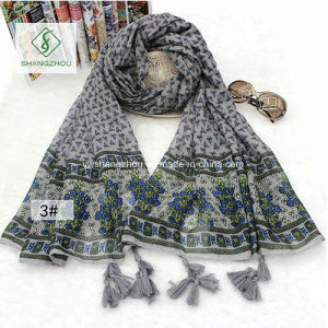 Retro Print Nepal Style Geometric Hand Tassel Cotton Scarf Shawl pictures & photos