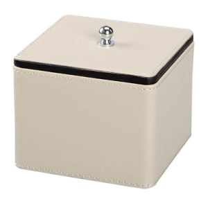 Square Leather Cotton Ball Holder with Lid pictures & photos