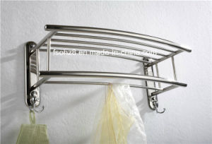 Polishing Stainless 304 Bathroom Towel Rack with Hooks (805) pictures & photos