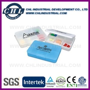 Promotional Capsule Shape Customized Logo 2 Compartment Pill Case pictures & photos