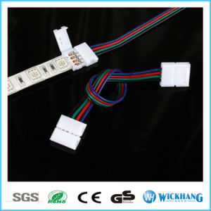 10mm 4 Pin Two Connector with Cable for SMD LED 5050 RGB Strip Light pictures & photos