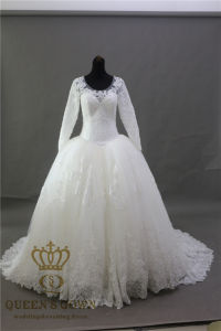 Long Lace Train Party Evneing Gown Wedding Bridal Dress pictures & photos