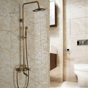 Bathroom Surface Mount Antique Brass Rainfall Shower Faucet Set with Handshower Tub Spout pictures & photos