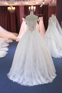 off Shoulder White/Ivory Crystal Wedding Dress pictures & photos