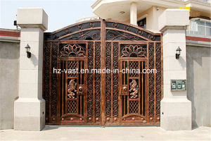 Haohan High-Quality Exterior Security Decorative Wrought Iron Fence Door 20 pictures & photos