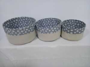 Set of 3 Canvas Round Storage Basket Without Handles and EVA Inside