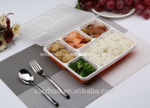 1100ml 5 Compartment Disposable Plastic Bento Food Tray pictures & photos