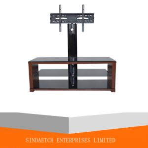 MDF and Tempered Glass TV Stand with Cable Management pictures & photos